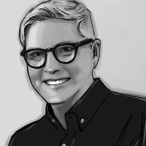 Paige Braddock's cartoon black& white headshot 2018