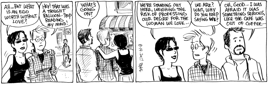 Jane's World comic strip from 2017 on professing love