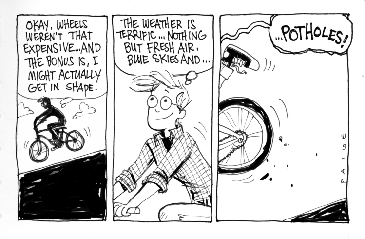 Later strip: Jane riding a bike