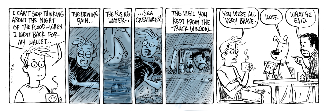 Later comic strip: Jane's trailer is flooded