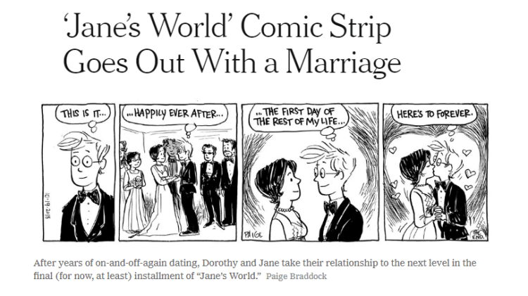 New York Times headline on last Jane's World comic strip