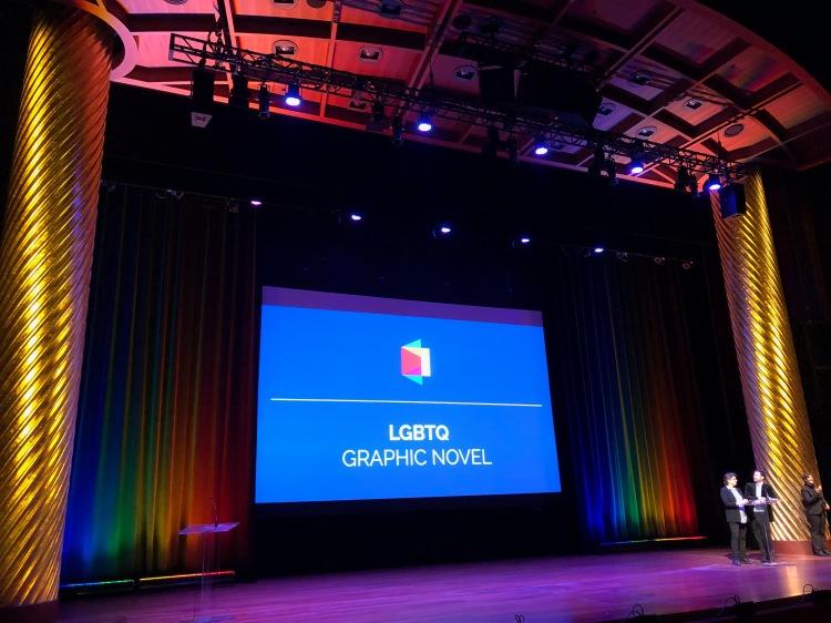 Jennifer Camper and Garrard Conley presenting for Best LGBTQ Graphic Novel.