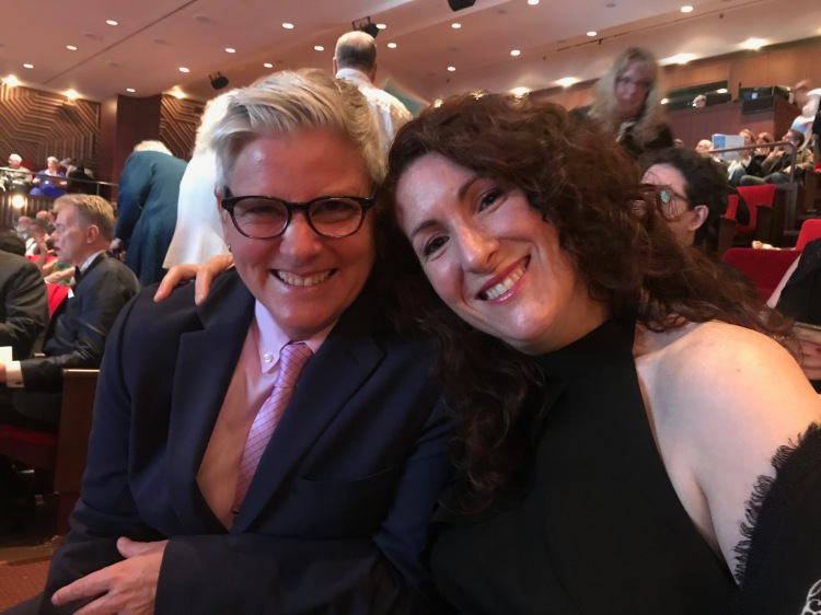 Paige Braddock getting ready for the Lambda Literary Awards with my wife Evelyn.